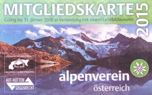 A 2015-ös ÖAV tagsági kártya