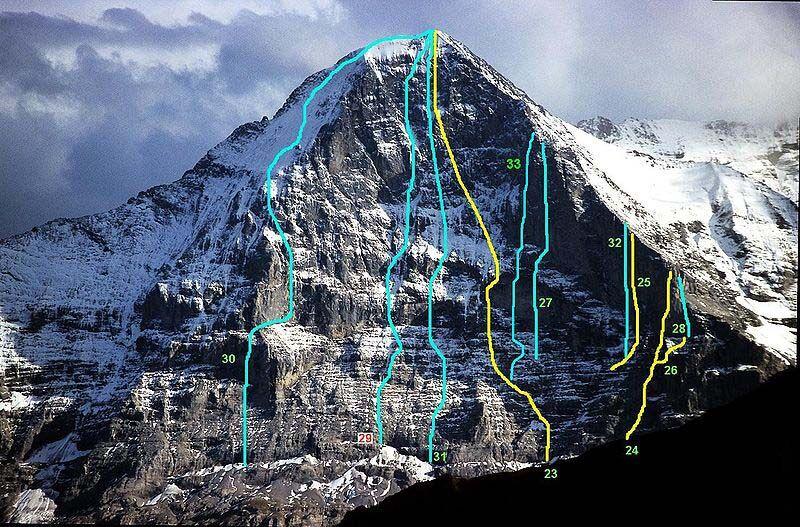 Az Eiger északi falának útjai, a 33-as a Paciencia IX+/X-