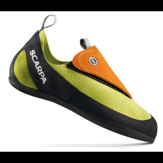 Scarpa Lightning tépőzáras gyermek mászócipő narancs-lime színben a Mászás.hu-tól