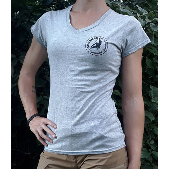 Gerecse tagsági női póló szürke színben a Mászás.hu-tól